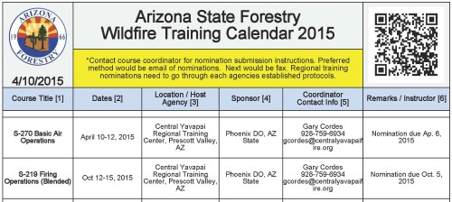 Wildfire Training Calendar Preview